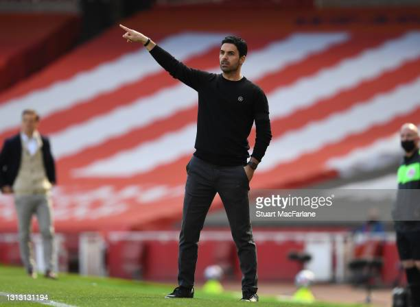Arsenal manager Mikel Arteta during the Premier League match between Arsenal and Fulham at Emirates Stadium on April 18, 2021 in London, England....