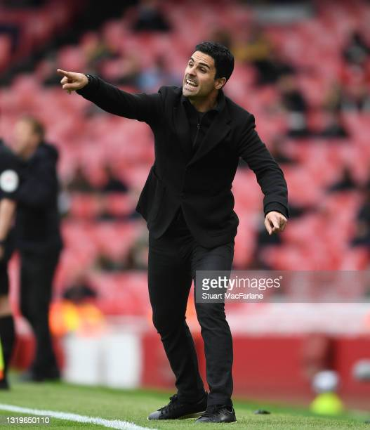 Arsenal manager Mikel Arteta during the Premier League match between Arsenal and Brighton & Hove Albion at Emirates Stadium on May 23, 2021 in...