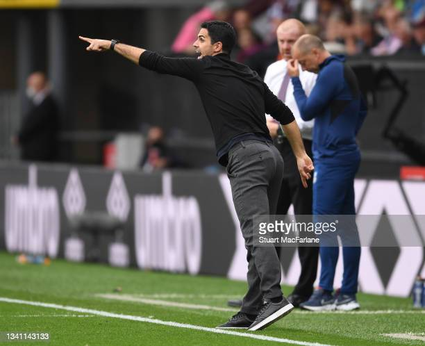 Arsenal manager Mikel Arteta during the Premier League match between Burnley and Arsenal at Turf Moor on September 18, 2021 in Burnley, England.