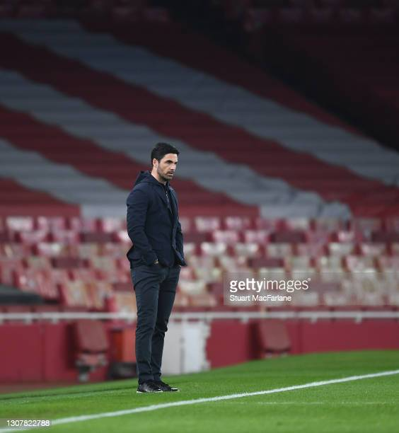Arsenal manager Mikel Arteta during the UEFA Europa League Round of 16 Second Leg match between Arsenal and Olympiacos at Emirates Stadium on March...