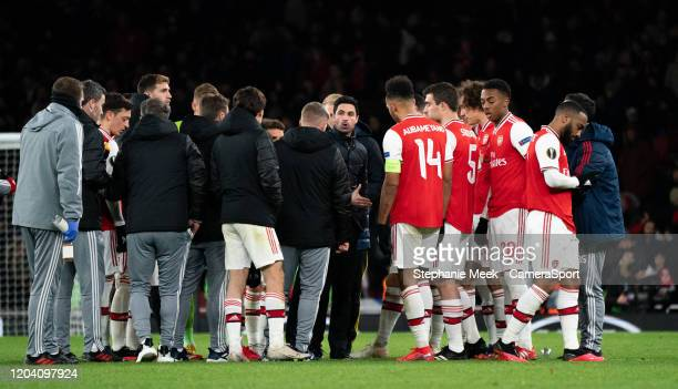 Arsenal manager Mikel Arteta instructs his time prior to extra time during the UEFA Europa League round of 32 second leg match between Arsenal FC and...