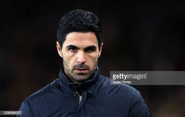 Arsenal Manager Mikel Arteta looks on prior to the UEFA Europa League round of 32 second leg match between Arsenal FC and Olympiacos FC at Emirates...
