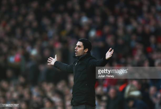 Arsenal manager Mikel Arteta of reacts during the Premier League match between Arsenal FC and Chelsea FC at Emirates Stadium on December 29 2019 in...