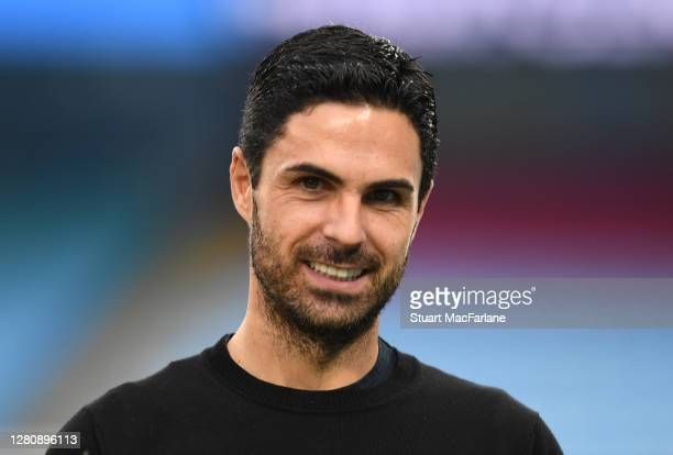 Arsenal manager Mikel Arteta the Premier League match between Manchester City and Arsenal at Etihad Stadium on October 17 2020 in Manchester England...