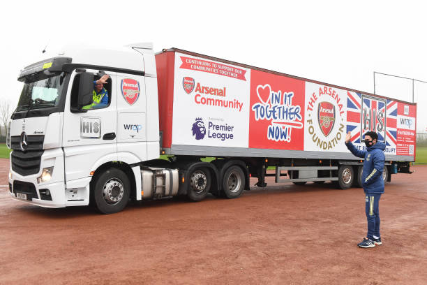 GBR: Arsenal Managers Mikel Arteta and Joe Montemuro Send Off Truck Carrying Meals For The Local Community