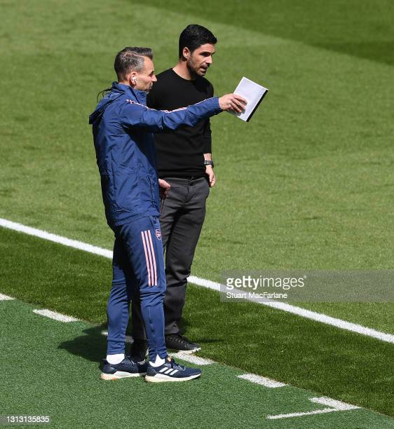 Arsenal manager Mikel Arteta with assistant Albert Stuivenburg during the Premier League match between Arsenal and Fulham at Emirates Stadium on...
