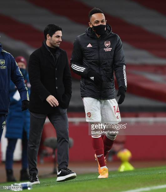 Arsenal manager Mikel Arteta with Pierre-Emerick Aubameyang after the Premier League match between Arsenal and Newcastle United at Emirates Stadium...