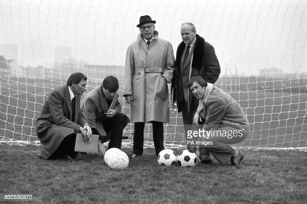 Arsenal manager Terry Neill Fulham manager Malcolm MacDonald Denis Thatcher England manager Ron Greenwood and Tottenham Hotspur manager Keith...