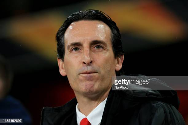 Arsenal Manager Unai Emery during the UEFA Europa League match between Arsenal and Eintracht Frankfurt at the Emirates Stadium, London on Thursday...
