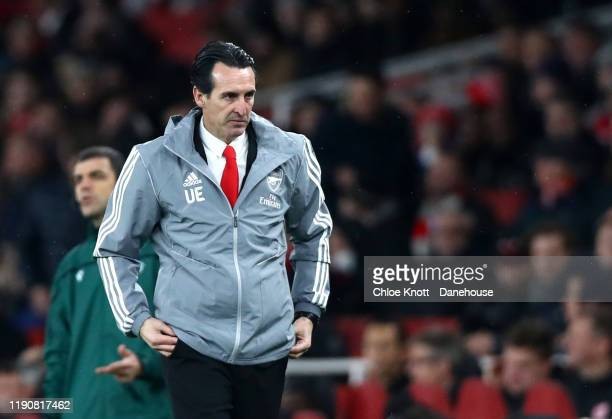 Arsenal manager Unai Emery gestures during the UEFA Europa League group F match between Arsenal FC and Eintracht Frankfurt at Emirates Stadium on...