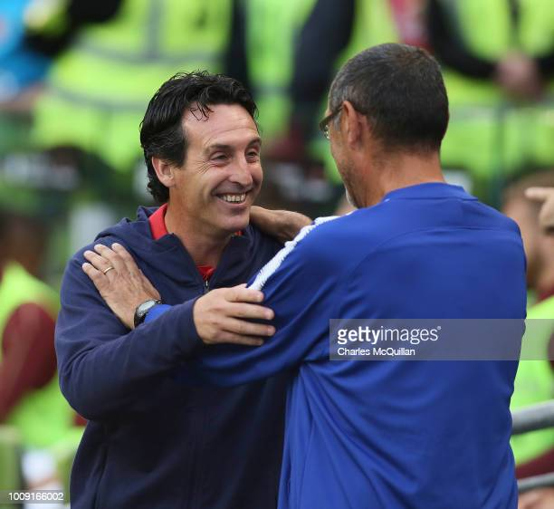 Arsenal manager Unai Emery greets Chelsea manager Maurizio Sarri during the Preseason friendly International Champions Cup game between Arsenal and...