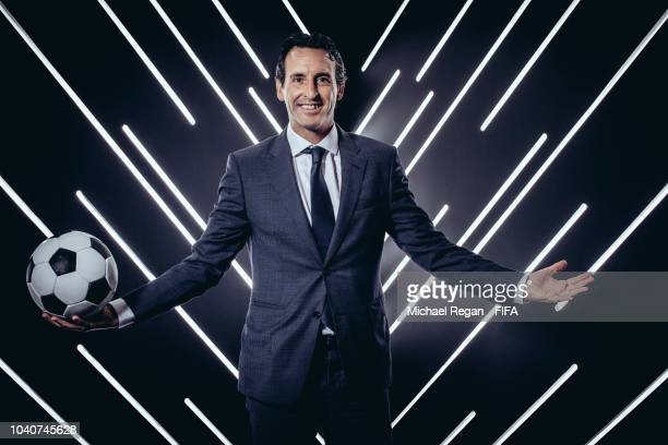 Arsenal manager Unai Emery is pictured inside the photo booth prior to The Best FIFA Football Awards at Royal Festival Hall on September 24 2018 in...