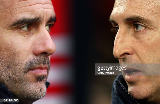 COMPOSITE OF IMAGES Image numbers 10893882901072868284 GRADIENT ADDED In this composite image a comparison has been made between Pep Guardiola...