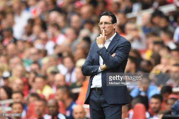 Arsenal manager Unai Emery looks on during the Emirates Cup match between Arsenal and Olympique Lyonnais at the Emirates Stadium on July 28 2019 in...