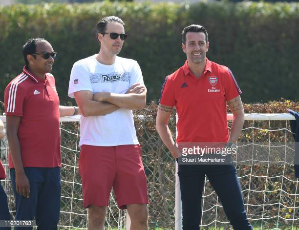 Arsenal Managing Director Vinai Venkatesham with Josh Kroenke of KSE and Technical Director Edu during a training session at the Loyola Marymount...