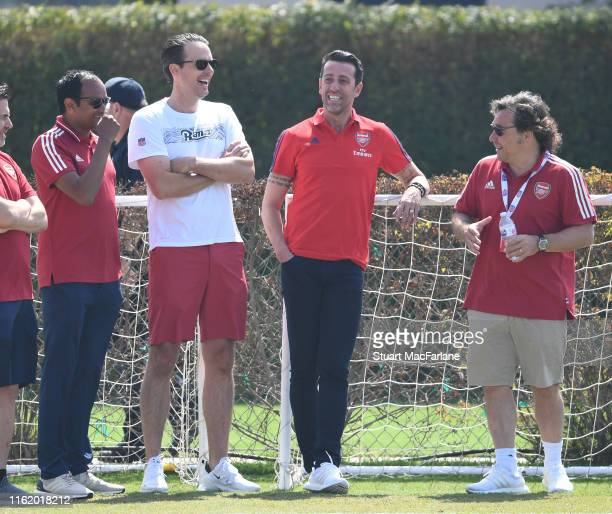 Arsenal Managing Director Vinai Venkatesham with Josh Kroenke of KSE Technical Director Edu and Head of Football Relations Raul Sanllehi during a...