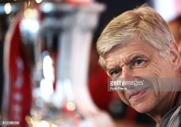 Arsenal Manger Arsene Wenger looks towards the FA Cup during an Official Welcome to Sydney for Arsenal FC at Museum of Contemporary Art on July 11...
