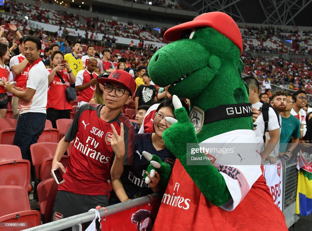 Arsenal mascot gunnersuarus before the International Champions Cup match between Arsenal and Paris Saint Germain at the National Stadium on July 28, 2018 in Singapore.