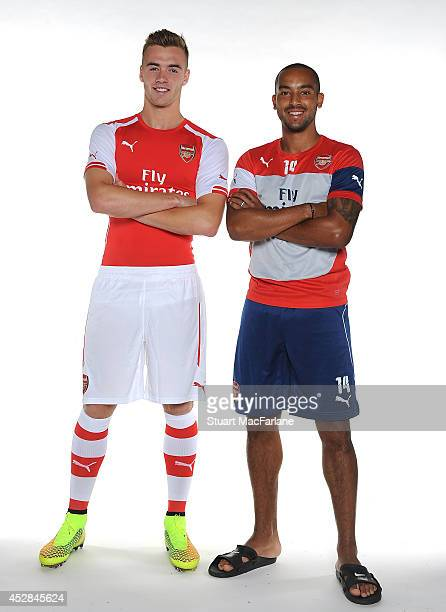 Arsenal new signing Calum Chambers is pictured with Theo Walcott on July 28 2014 in St Albans England