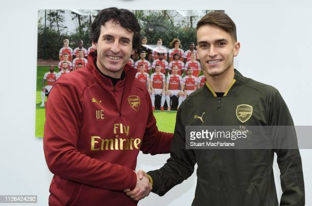 Arsenal new signing Denis Suarez with Head Coach Unai Emery at London Colney on January 31, 2019 in St Albans, England.