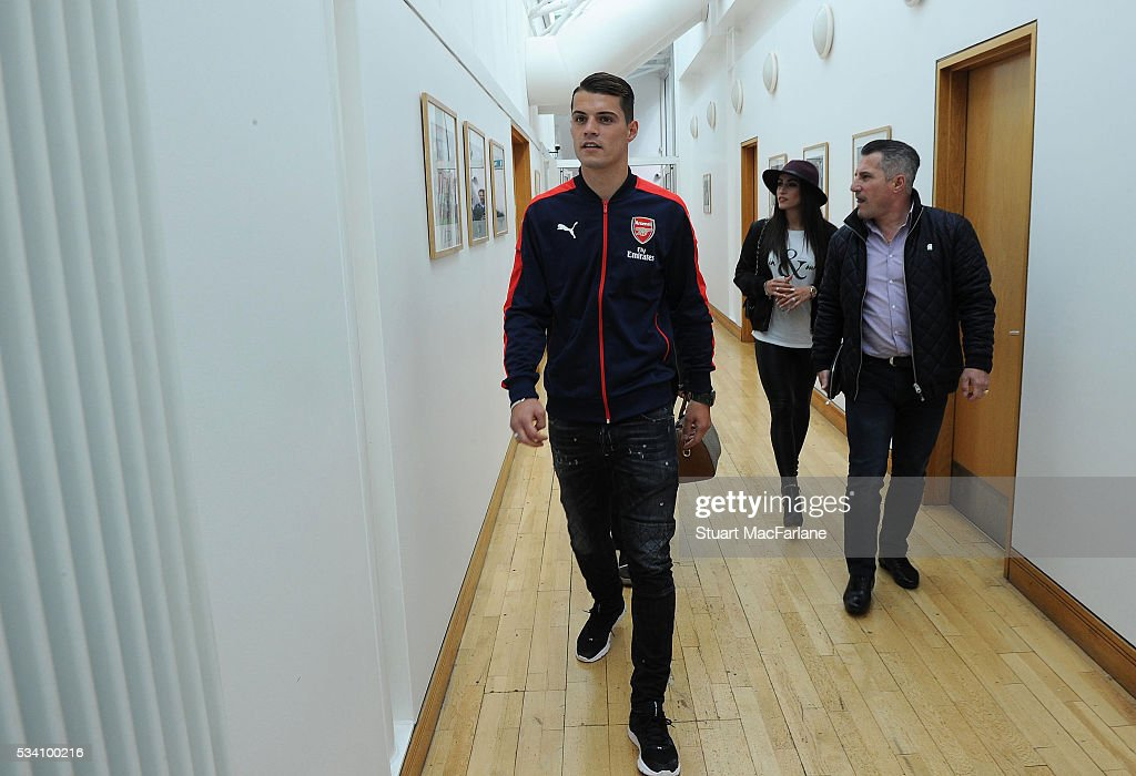 Arsenal new signing Granit Xhaka at London Colney on May 20, 2016 in St Albans, England.