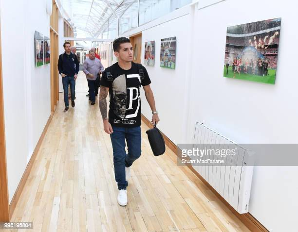 Arsenal new signing Lucas Torreira arrives at the training ground at London Colney on July 10 2018 in St Albans England