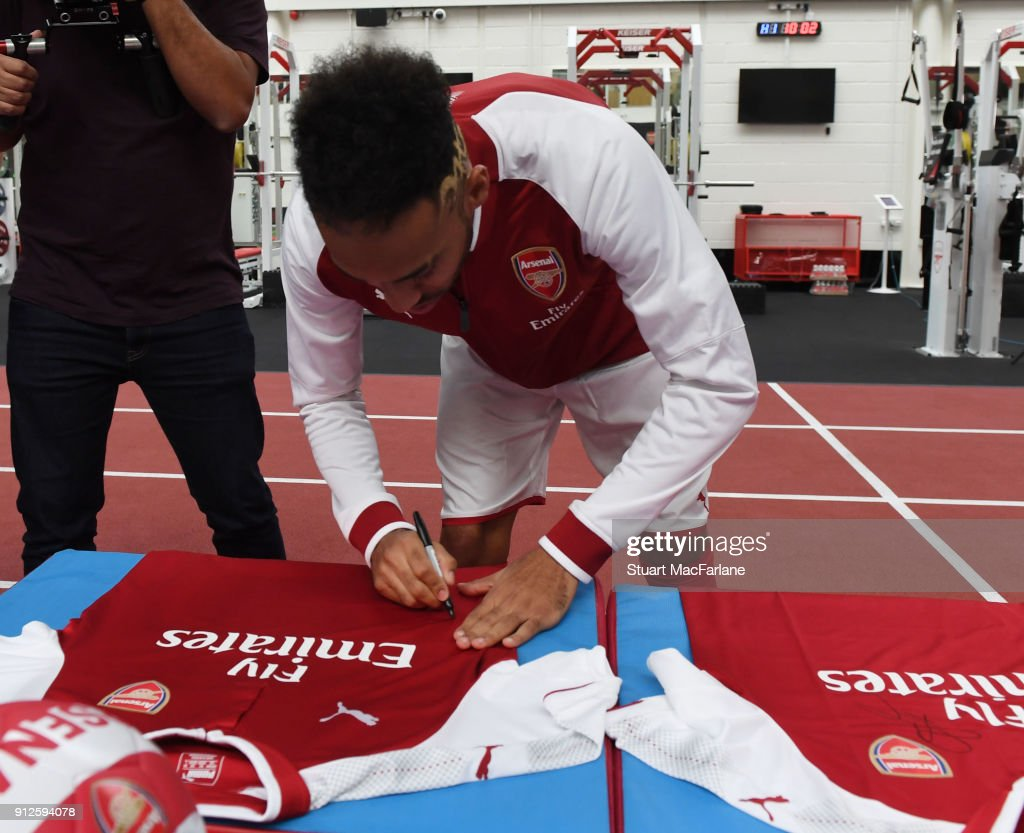 Arsenal new signing Pierre-Emerick Aubameyang at London Colney on January 31, 2018 in St Albans, England.