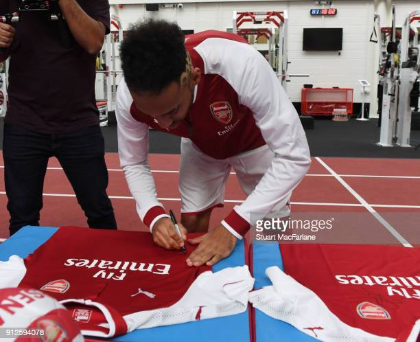 Arsenal new signing PierreEmerick Aubameyang at London Colney on January 31 2018 in St Albans England