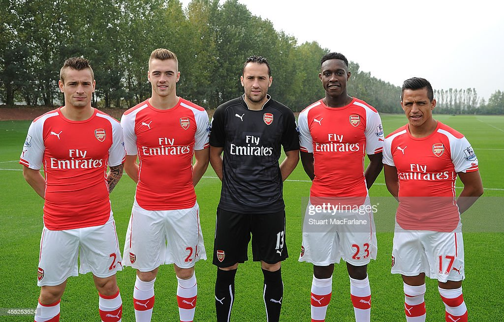Arsenal new signings (L-R) Mathieu Debuchy, Calum Chambers, David Ospina, Danny Welbeck and Alexis Sanchez at London Colney on September 11, 2014 in St Albans, England.