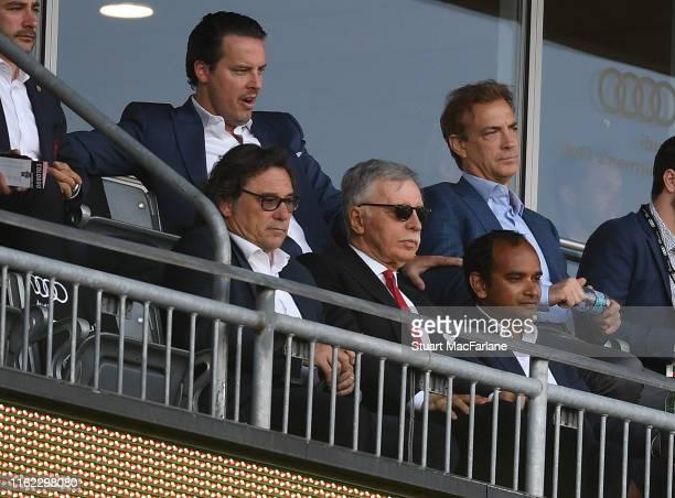 Arsenal owner Stan Kroenke with Head of Football Relations Raul Sanllehi Josh Kroenke and Manageing Director Vinai Venkatesham and during the pre...