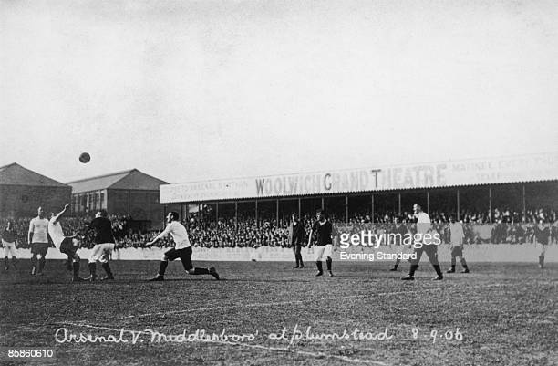 Arsenal play Middlesbrough at the Manor Ground in Plumstead 8th September 1906 Originally named Woolwich Arsenal after the nearby Royal Arsenal the...