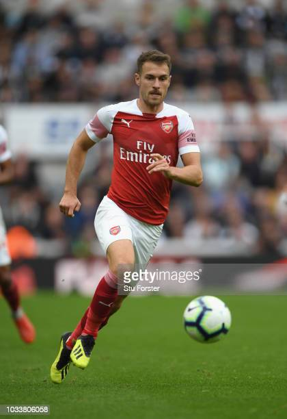 Arsenal player Aaron Ramsey in action during the Premier League match between Newcastle United and Arsenal FC at St James Park on September 15 2018...