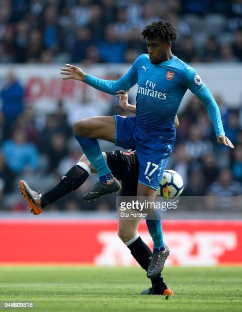 Arsenal player Alex Iwobi in action during the Premier League match between Newcastle United and Arsenal at St James Park on April 15 2018 in...