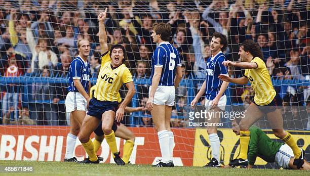 Arsenal player Brian Talbot celebrates his second of two goals during a 41 win over Leicester City in the First Division at Filbert Street on October...
