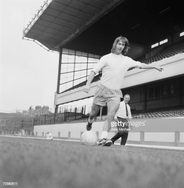 Arsenal player Charlie George training at Highbury under the watchful eye of manager Bertie Mee 10th September 1971