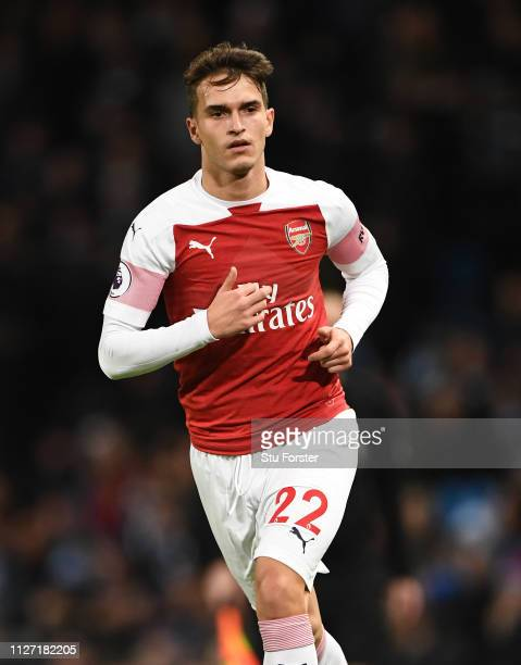 Arsenal player Denis Suarez in action during the Premier League match between Manchester City and Arsenal FC at Etihad Stadium on February 03, 2019...