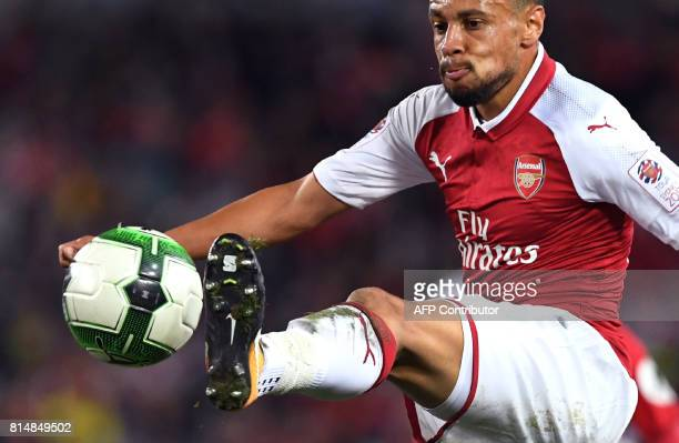 Arsenal player Francis Coquelin takes on Western Sydney Wanderers in their preseason football friendly played in Sydney on July 15 2017 / AFP PHOTO /...