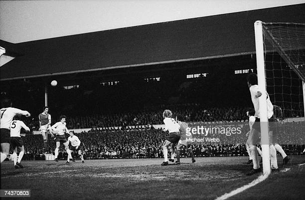 Arsenal player George Graham heads the ball at White Hart Lane during a match against arch rivals Tottenham Hotspur 4th May 1971 Ray Kennedy scored...