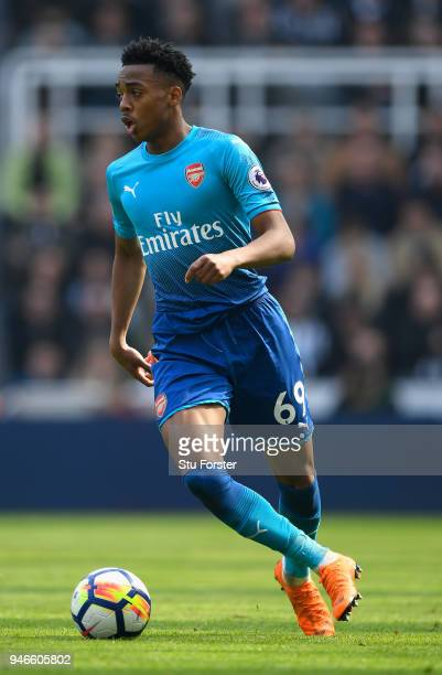 Arsenal player Joe Willock in action during the Premier League match between Newcastle United and Arsenal at St James Park on April 15 2018 in...