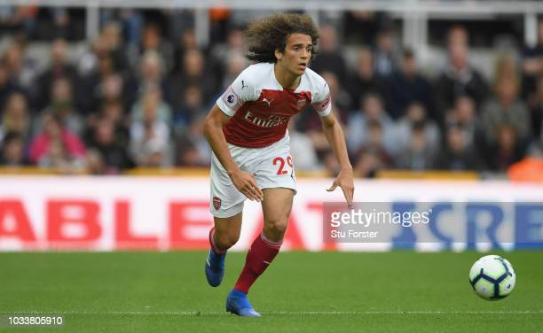 Arsenal player Matteo Guendouzi in action during the Premier League match between Newcastle United and Arsenal FC at St. James Park on September 15,...