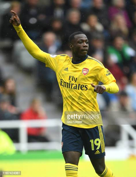 Arsenal player Nicolas Pepe in action during the Premier League match between Newcastle United and Arsenal FC at St James Park on August 11 2019 in...