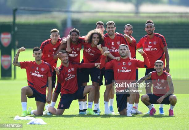 Arsenal players after a training session at London Colney on August 23, 2019 in St Albans, England.