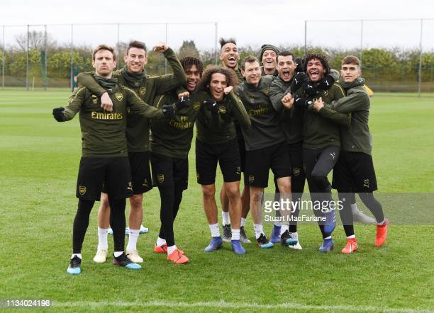 Arsenal players after a training session at London Colney on March 06, 2019 in St Albans, England.