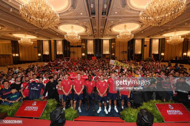 Arsenal players attend a fan party at the ShangriLa hotel on July 25 2018 in Singapore