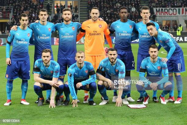 Arsenal players before the first leg of the round 16 of the UEFA Europa League 2017/18 between AC Milan and Arsenal FC at Giuseppe Meazza stadium on...