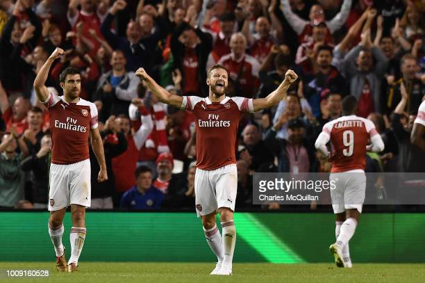 Arsenal players celebrate Alexandre Lacazette's late goal during the Preseason friendly International Champions Cup game between Arsenal and Chelsea...
