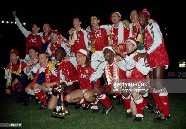 Arsenal players celebrate with the Barclays League trophy after the Barclays League Division One match between Arsenal and Manchester United at...