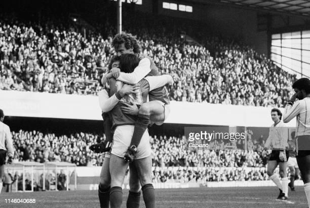 Arsenal players celebrating scoring during a match against Notts County FC at Arsenal Stadium, London, UK, 22nd January 1984.
