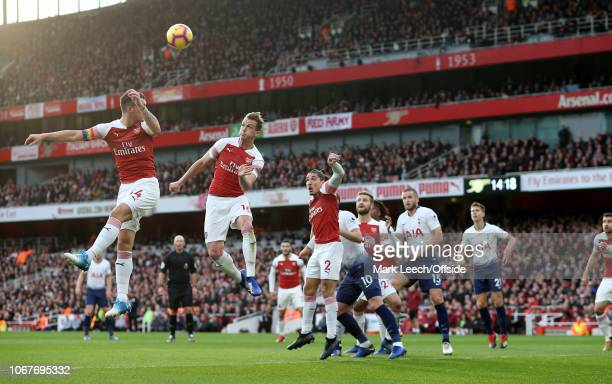 Arsenal players defend a corner kick during the Premier League match between Arsenal FC and Tottenham Hotspur at Emirates Stadium on December 2 2018...