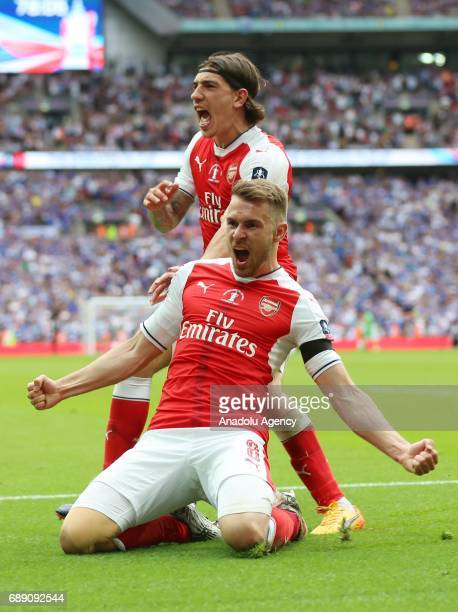 Arsenal players Hector Bellerin and Aaron Ramsey celebrates the second goal for the team during the FA Cup final match between Arsenal FC and Chelsea...